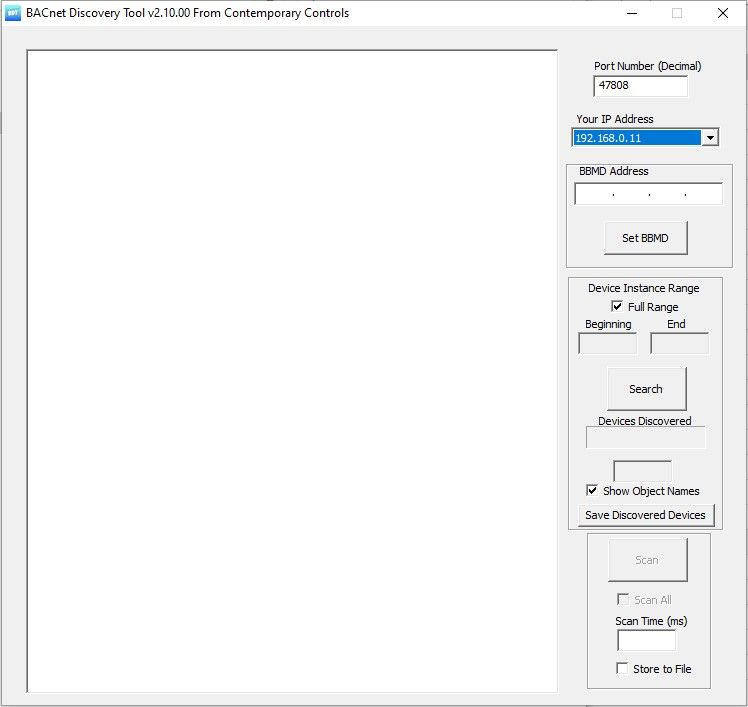 Image of the BACnet discovery tool for BMS BACnet networks
