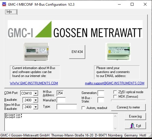 Screen shot of the MB-CONF MBUS software before connection to a device