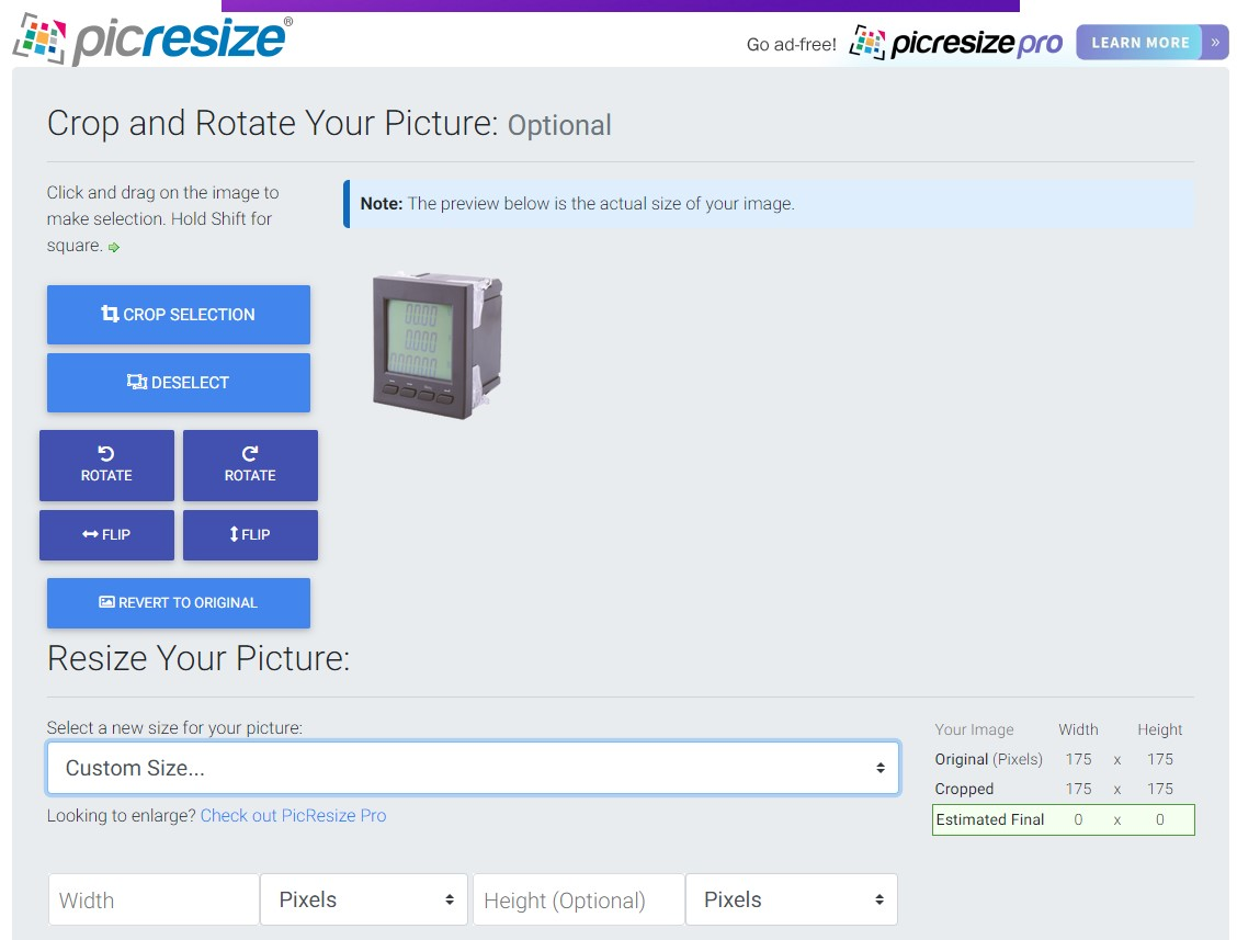Screen shot from the PicResize website