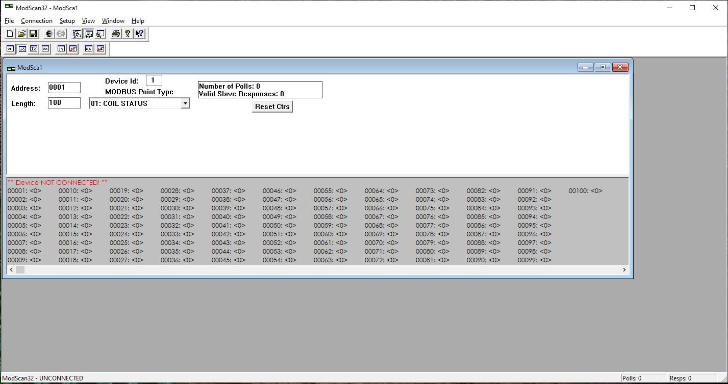Image of Modscan Modbus software